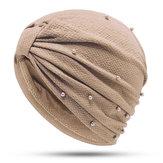 Women Muslim Crossword Cotton Flexible Earmuffs Turban Hat