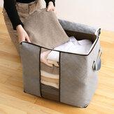 Hoge capaciteit kleding Quilts opbergzakken Opvouwbare organizer tassen Bamboe draagbare opslagcontainer
