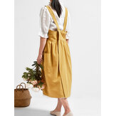 Vintage Women Back Cross Pure Color Pockets Cotton Dress