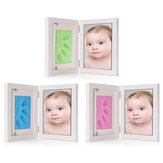 7 Inch pasgeboren Baby Hnad voet Print Clay hout fotolijst Stand Home Decor