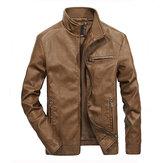 Supporto per giacca da uomo in pelle PU con cerniera moda Colla