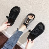 New Sandals And Slippers Flat Casual Slippers Female Wild Square Head Straps Slippers Comfortable Korean