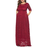 Plus Size Women Elegant 3/4 Sleeve Lace Long Dress