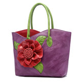 Vrouwen PU Leer Bloem Decoratie Elegante Handtas Sling Bag National Style Tote Bag