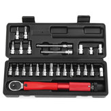 25Pcs Bicycle Bike Torque Wrench 1/4 Inch Torque Wrench Socket Set Kit 2-24Nm