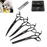 Pet Cat Dog Grooming Kit 7 Inch Scissors Hair Cutting Curved