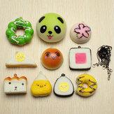 10 peças aleatórias mole maleável alças de sushi / panda / pão / bolo / buns telefone