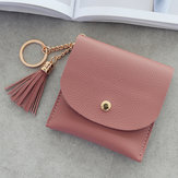 Women's Simple Light Buckle Metal Ring Tassel Wallet Purse