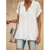 Casual Lapel Short Sleeve Solid Color Women Blouse Shirts
