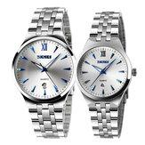 Reloj de pulsera de cuarzo de los amantes del estilo simple luminoso SKMEI 9071 pareja