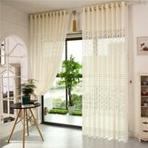 2 Panel Jacquard Lace Sheer Tulle Gordijnen Slaapkamer Woonkamer Hollow Out Window Screening