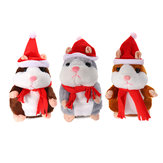 18CM Lovely Talking Hamster Christmas Plush Toy Speak Talking Sound Record Hamster Talking Toys