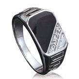 Trendy Alloy Ring Crystal Ring Rhinestone Rechthoek Vinger Ring voor Mannen