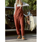 Casual Women Solid Color Cotton Linen Jumpsuit