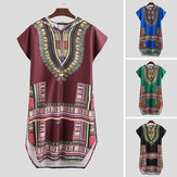 Men's African Short Sleeve T-shirt Dashiki Kaftan Shirt Hippie Poncho Dress Tops