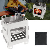 Outdoor Portable Wood Cooking Stove Stainless Steel Picnic BBQ Burner Furnace Camping Hiking