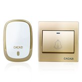 CACAZI AC110-220V Wireless Doorbell Waterproof 1 Button+1 Plug-in Receivers 300M Remote Music Door Dell