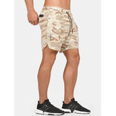 Mens Casual Elastic Waist Cotton Blend Loose Fit Shorts