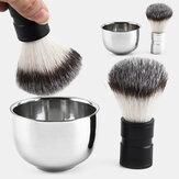Tigela de barbear em aço inoxidável Barba Navalha Copo para barbear Escova Limpeza de rosto masculino Sabão Caneca Conjunto de ferramentas Prata NOVO