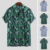 Camicie maniche corte allentate casual da spiaggia da uomo Camicetta hawaiana con bottoni da spiaggia