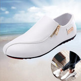 Men Breathable Zipper Slip on Non Slip Casual Shoes