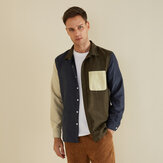 Autumn Corduroy Patchwork Practical Pocket Casual Shirts