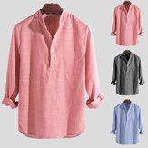 Camicie casual da uomo Camicie eleganti Colletto a righe Henley T-Shirt Bottoni con bottoni