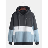Mens Autumn Winter Patchwork Hooded Thick Casual Sweatshirt