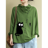 Plus Size Cartoon Cat Print High Collar Casual Blouse
