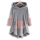 Kontrastfarbe Splice Unregelmäßiger Saum Kapuzen-Fleece-Sweatshirt