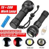 Recarregável T6 + COB LED Luz de trabalho Lanterna Magnética Lanterna USB Lamp + 18650
