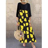 Vintage Women O-neck 3/4 Sleeve Print Maxi Dress