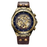 SHENHUA Brand Genuine Bronze Belt Skeleton Mechanical Watch