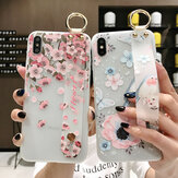 Bakeey Blossom Embossed Soft iPhone用リストバンドホルダー付きシリコン保護ケースXS MAX XR X for iPhone 7 6 6S 8 Plus Back Cover