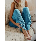 Casual Solid Color Loose Plush Pants for Women