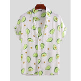 Mens Avocado gedruckt Sommer Hawaiian Vacation Fashion Shirts