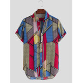 Mens Summer Color Block Printed Turn Down Collar Shirts