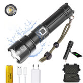 XANES® P70 1800 Lumens USB LED Zoomable Tactical Flashlight 5 Modes IPX4 Waterproof Spotlight Searchlight With Charger 26650 Battery Storage Box