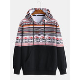 Mens Loose Fashion Printing Ethnic Style Hooded Sweatshirt