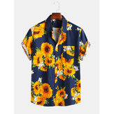 Mens Sunflower Printed 100% Cotton Fit Loose Causal Shirts