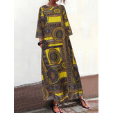 Vintage Women Loose Art Print O-Neck 3/4 Sleeve Dress