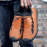 Grote handgestikte lederen anti-collision casual schoen