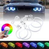 4 SZTUK 131mm + 146mm Wielobarwne RGB LED Angel Eyes Halo Ring Lights Reflektory z pilotem do BMW E46 E90