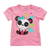 Little Maven Baby Girl Enfants Panda T-shirt en coton à manches courtes en coton