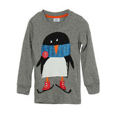 2015 New Little Maven Lovely Penguin Baby Children Boy Cotton Long Sleeve Top