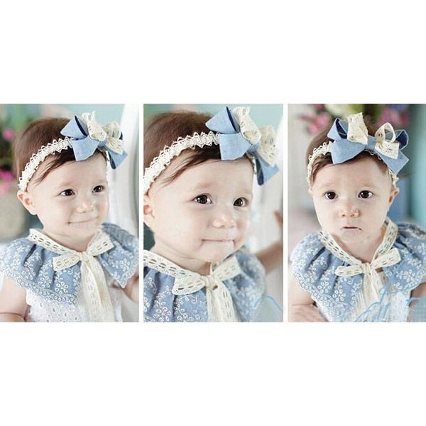 Kinder Mädchen Spitze verziert Blumen Haar Band Haarschmuck