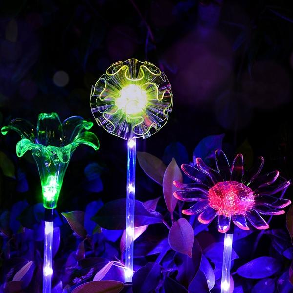 ARILUX® Solar Multi-Color Changing LED Flower Stake Light Transparente Lampshade Luminous Pole