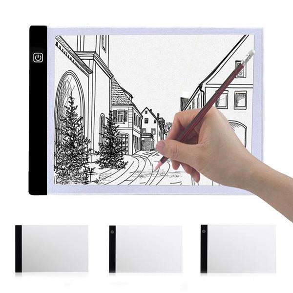 A4 2000LM USB 3Modo Tablero de Plantilla de Arte LED Diming Panel Tablero de Dibujo de Rastreo de Caja de Luz Lámpara de Trabajo de Mesa