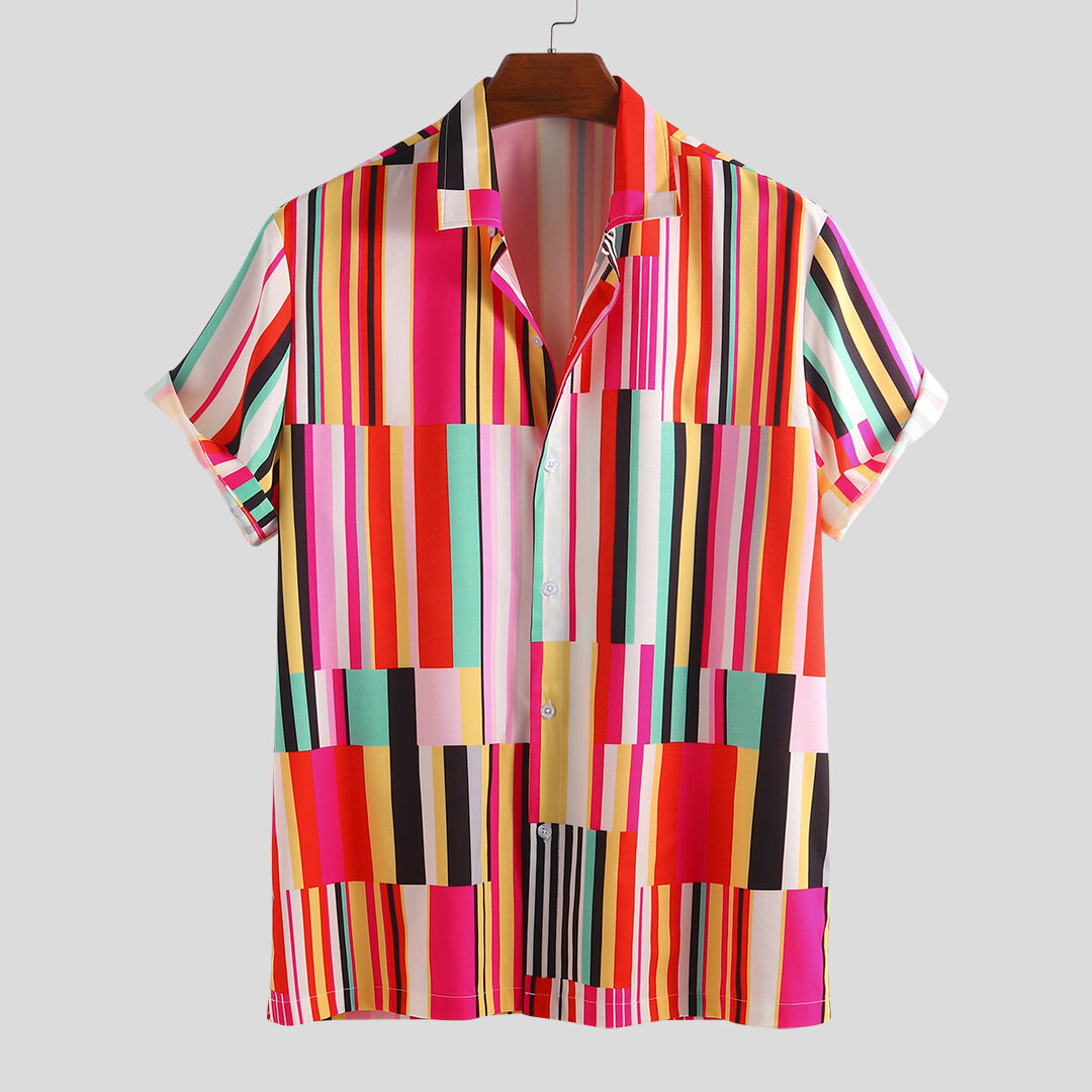 Men Colorful Striped Vision Short Sleeve Relaxed Shirts
