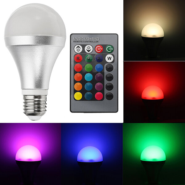E27 12W RGBW Dimmable Smart Colorful Globe LED Light Bulb Remote Control AC85-265V